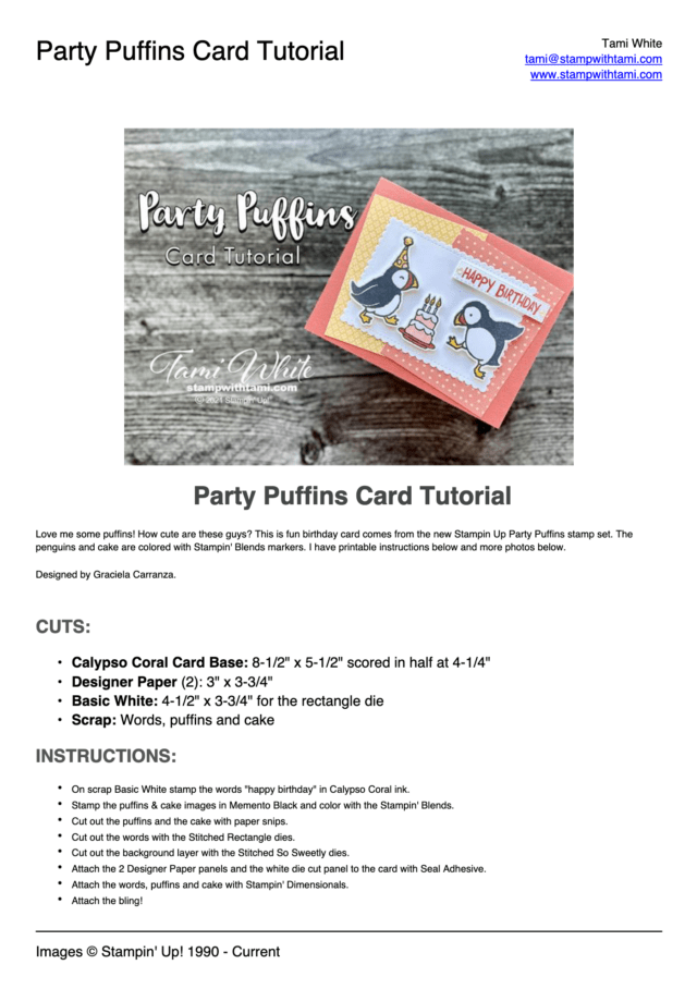Party Puffins Card Tutorial pdf