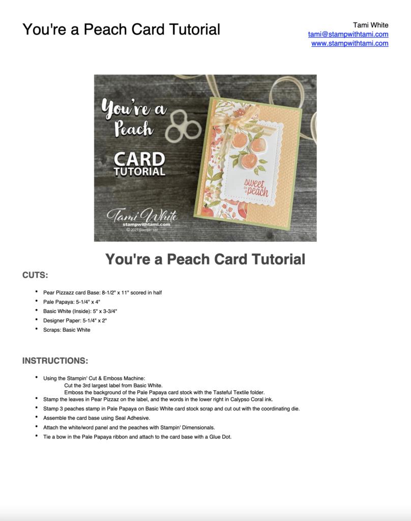 You're a Peach Card Tutorial Pdf