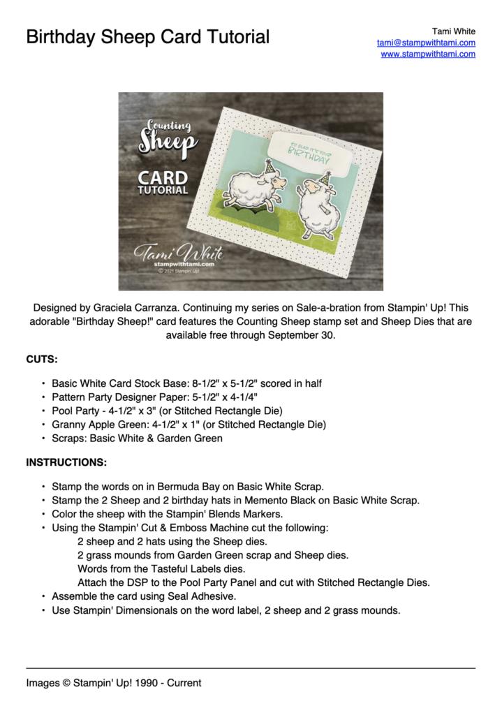 Birthday Sheep Card Tutorial PDF