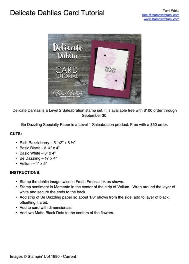 Delicate Dahlias Card Tutorial PDF