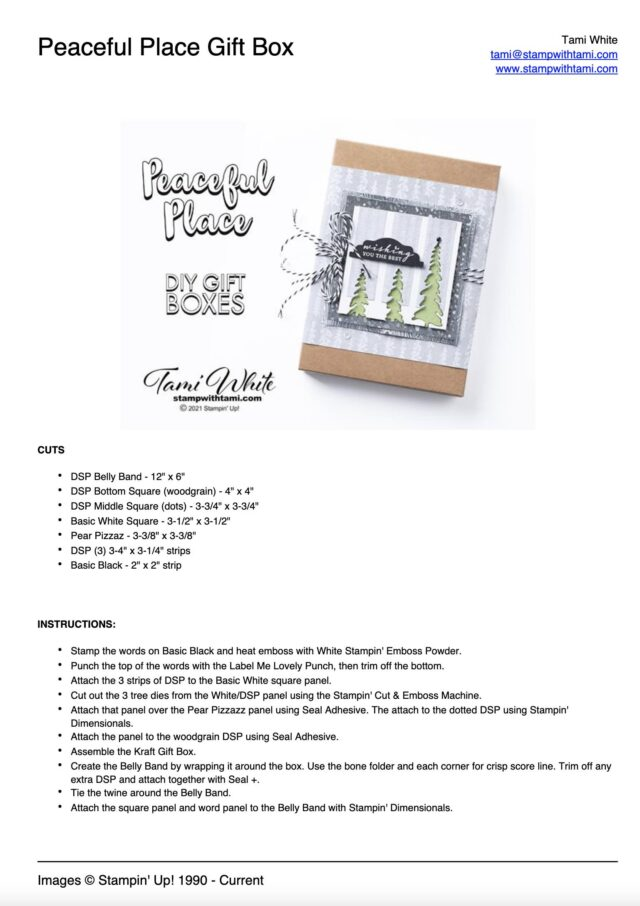 Peaceful Place Gift Box Tutorial PDF