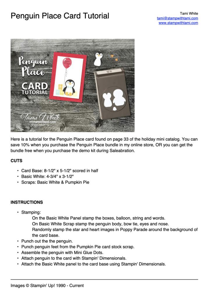 Penguin Place Card Tutorial PDF