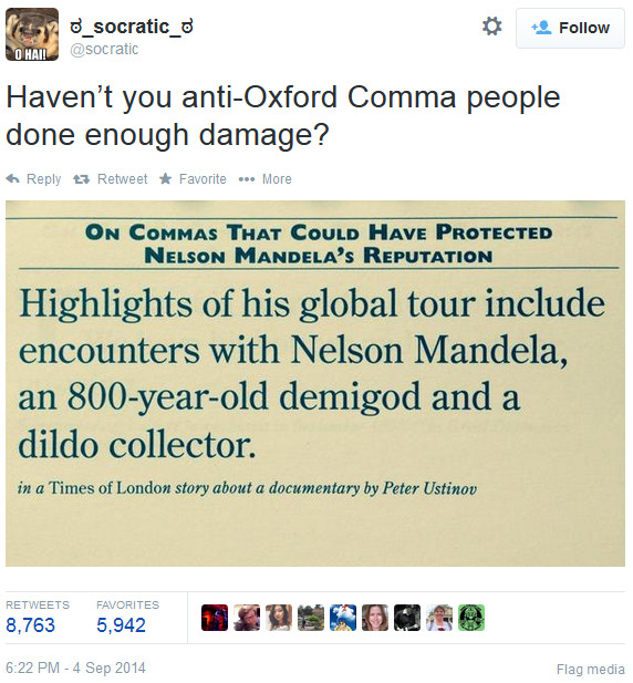 Oxford commas, Nelson Mandela, and Stephen King Sentence first - comma and and