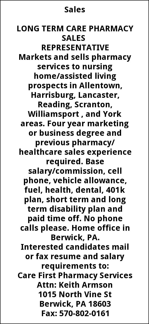 Pharmacy Sales Representative, Care First Pharmacy Services