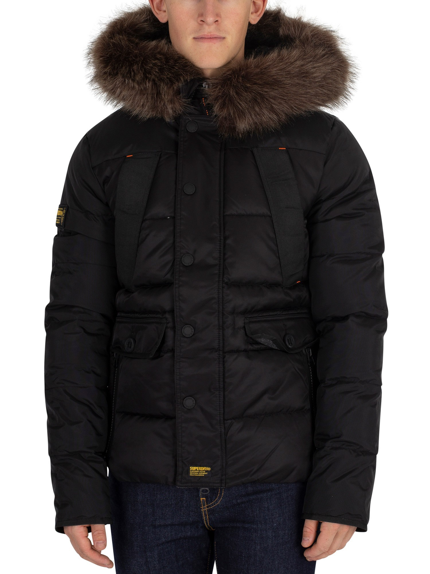 Herren Parka Schwarz Details About Superdry Mens Chinook Parka Jacket Black Show Original Title