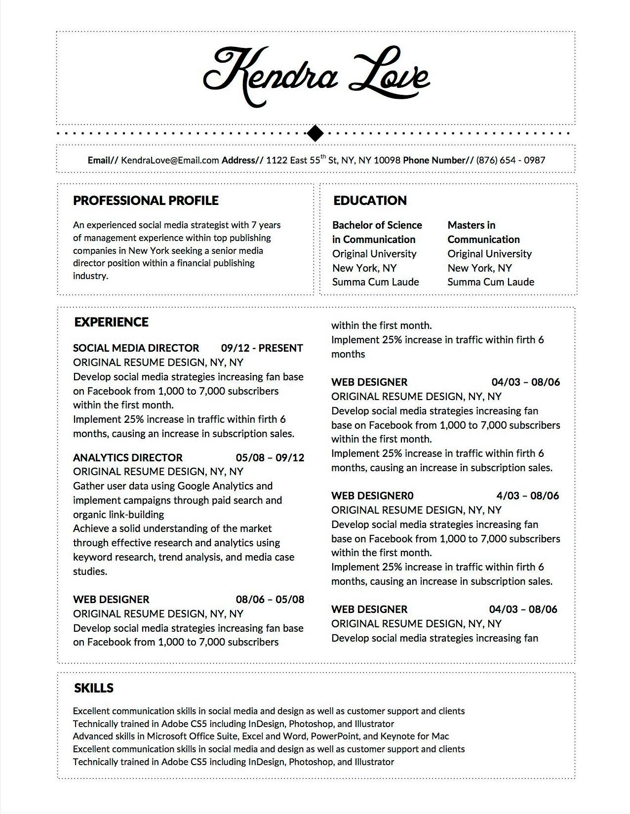fancy cv job descriptions