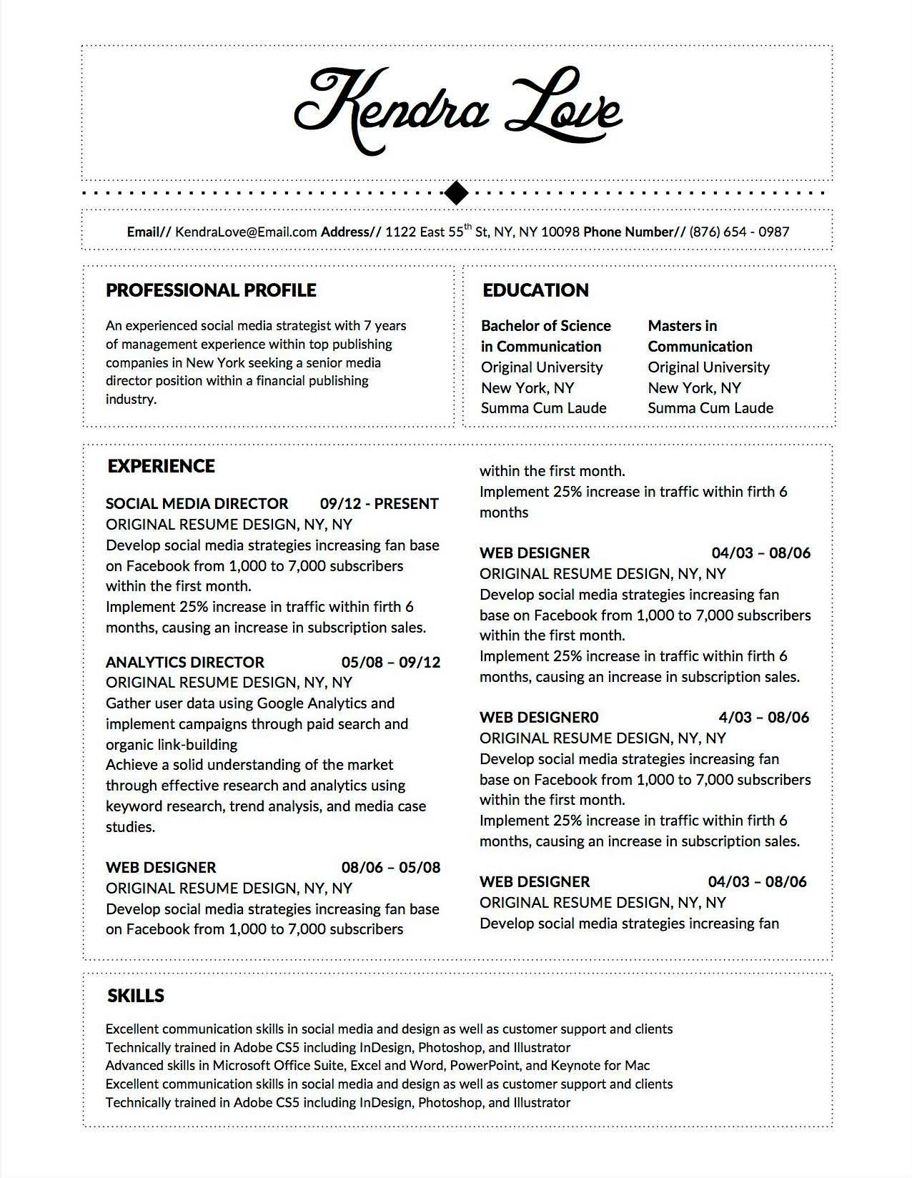 fancy cv job descriptions