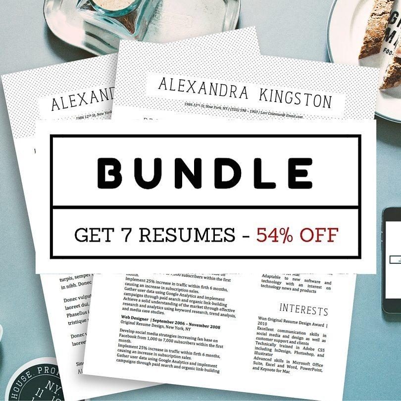 Fancy Resumes Bundle - 7 Beautiful Modern Resume Templates for