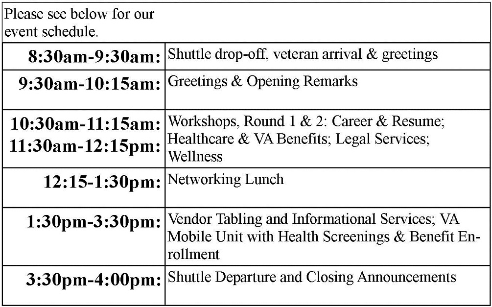 Event Agenda « Stand Up For Woman Veterans - event agenda