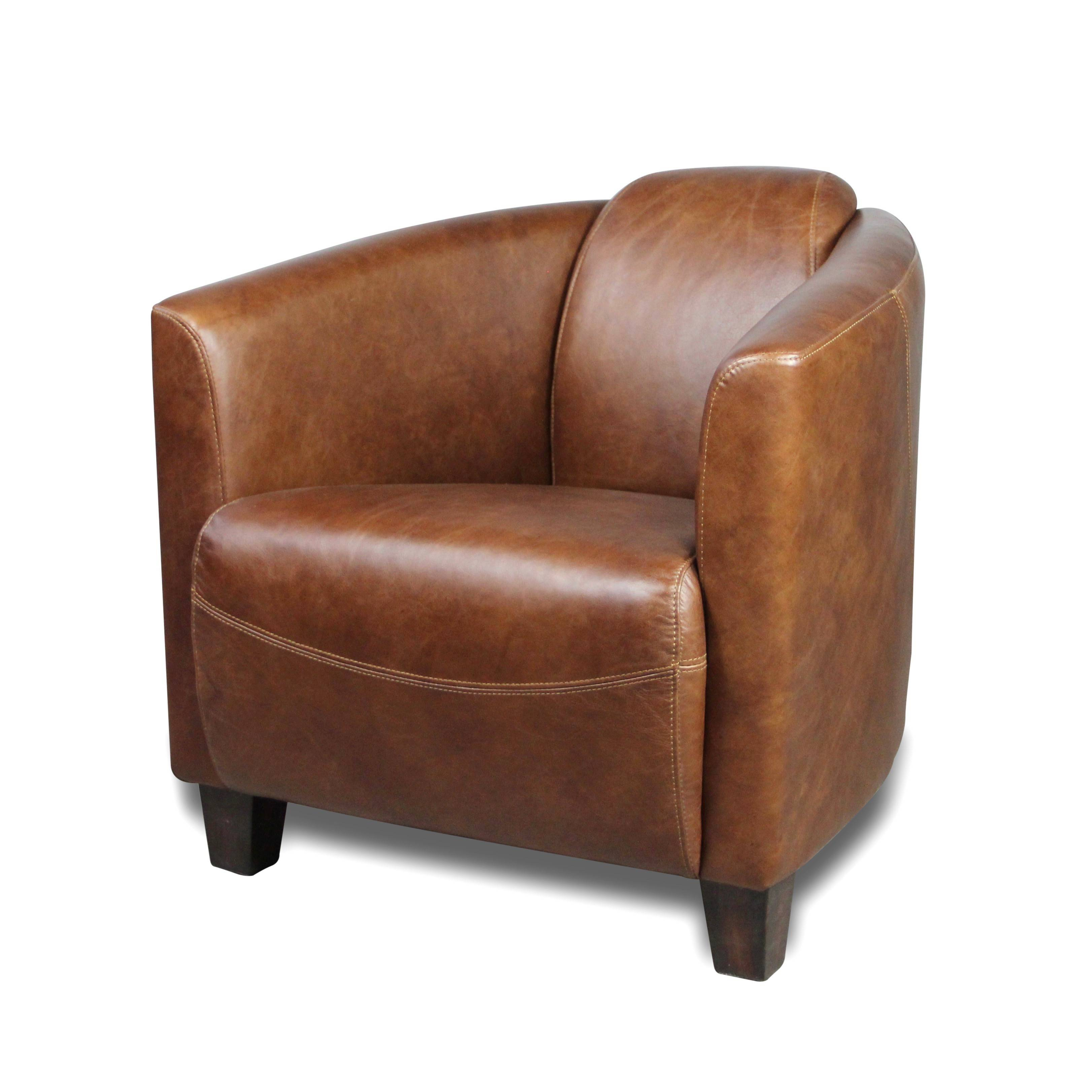 Canape Club Cuir Marron Fauteuil Club Vintage En Cuir Patiné Marron Clair Design Art Deco