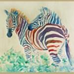Зебры<br />50х60, бумага, акварель, 2004г.