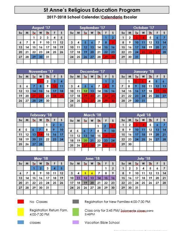 Class Calendar 2017-2018 St Anne\u0027s Catholic Church and School - Calendar Class