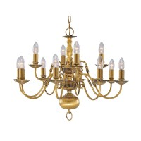 FLEMISH SOLID ANTIQUE BRASS 12 LIGHT CHANDELIER WITH METAL