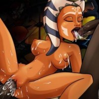 Here Ahsoka gets pounded by to huge cocks - one in her mouth and the other in her pussy. You can see how she enjoy it by all the pussie juice!