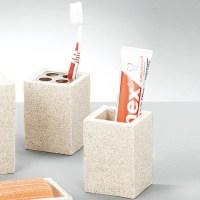 Design Bad Set Stein Optik Badezimmer WC Brste Becher ...