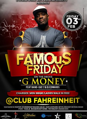 Famous Fridays with Dancehall DJ G MONEY!!