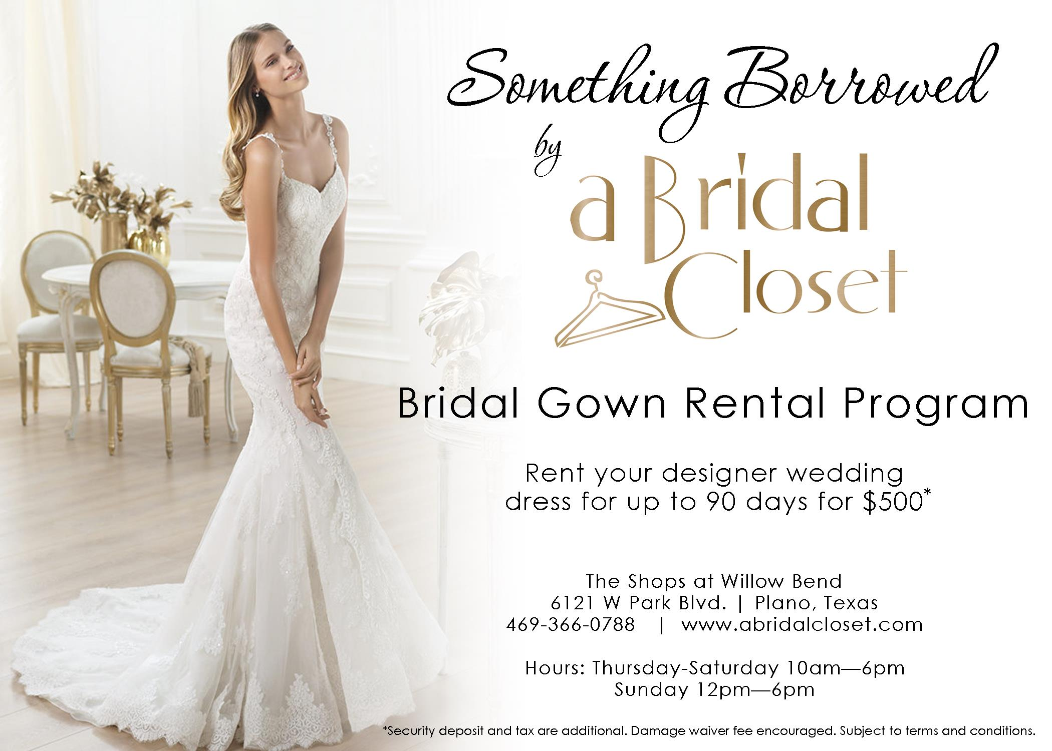 bridal closet wedding dresses for rent CLICK HERE TO LEARN MORE ABOUT OUR BRIDAL GOWN RENTAL PROGRAM