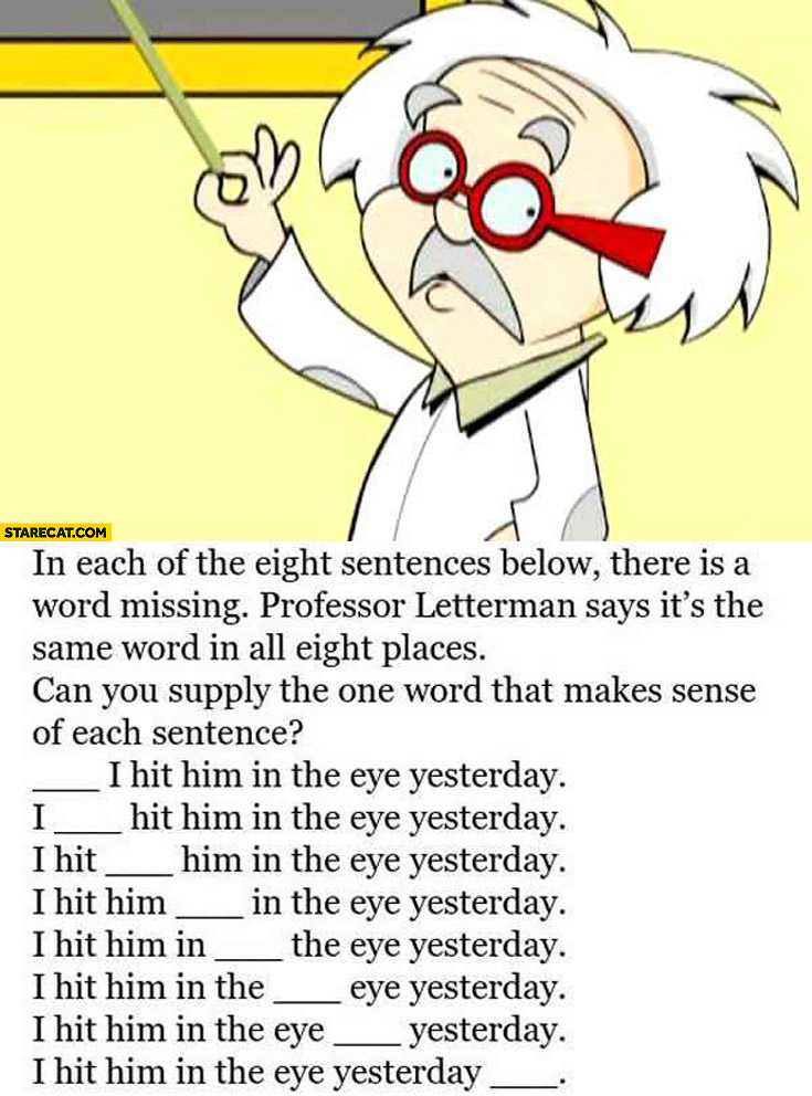 8 sentences one word missing what\u0027s the word StareCat