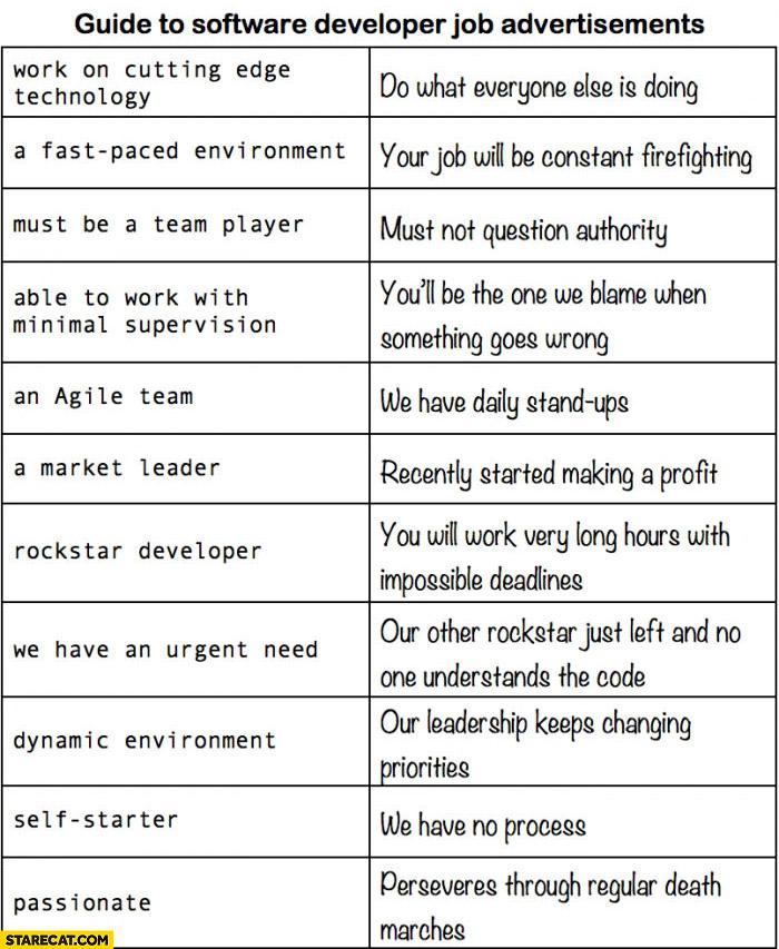 Guide to software developer job advertisements explained StareCat