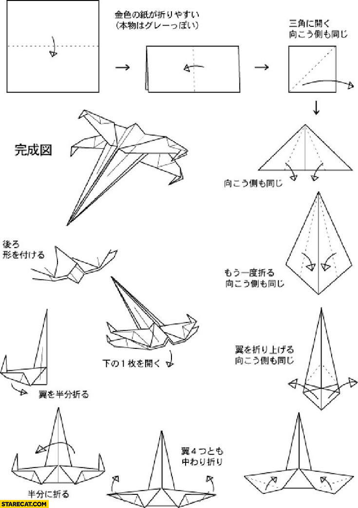 origami eagle diagram