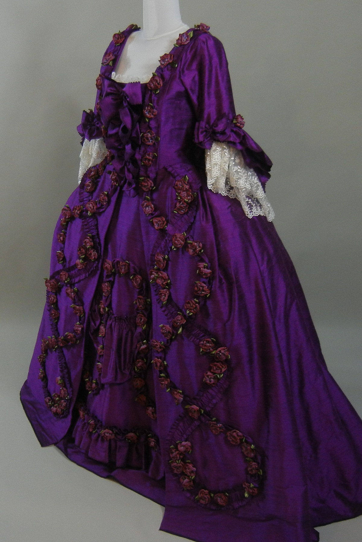 Taupe Violet & Roses Robe A La Francaise | Starlight Masquerade