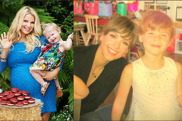 Jessica Simpson & Jessica Alba with daughters