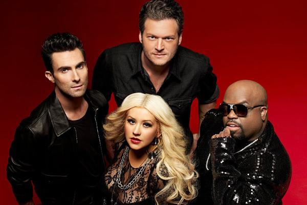 Adam Levine, Blake Shelton, Christina Aguilera & CeeLo Green