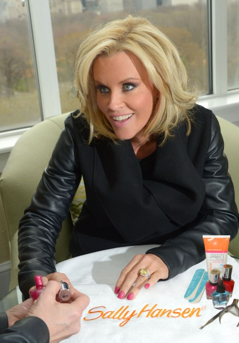 Jenny McCarthy shows off her engagement ring with a Sally Hansen manicure in NYC. (Photo credit: Michael Simon)
