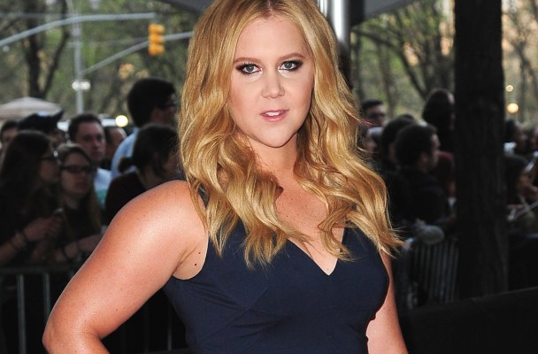 Amy Schumer arrives at the Times 100 event in a blue fishtail dress.  Pictured: Amy Schumer Ref: SPL1005361  220415   Picture by: TJDH Imagez/@JDH Imagez/Splash  Splash News and Pictures Los Angeles:	310-821-2666 New York:	212-619-2666 London:	870-934-2666 photodesk@splashnews.com