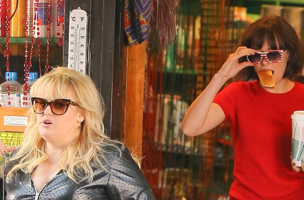"Rebel Wilson and Dakota Johnson seen rushing out of a deli while filming ""How To Be Single"" in New York City"