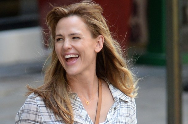 Jennifer Garner and Queen Latifah dodge traffic on set ofr Miracles from Heaven filming in Atlanta, Georgia.