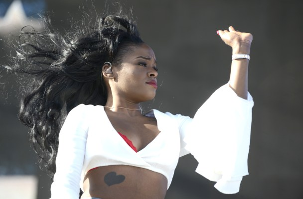 INDIO, CA - APRIL 10:  Azaelia Banks performs during the 2015 Coachella Valley Musica and Arts Festival at The Empire Polo Club on April 10, 2015 in Indio, California.  (Photo by Tim Mosenfelder/WireImage)