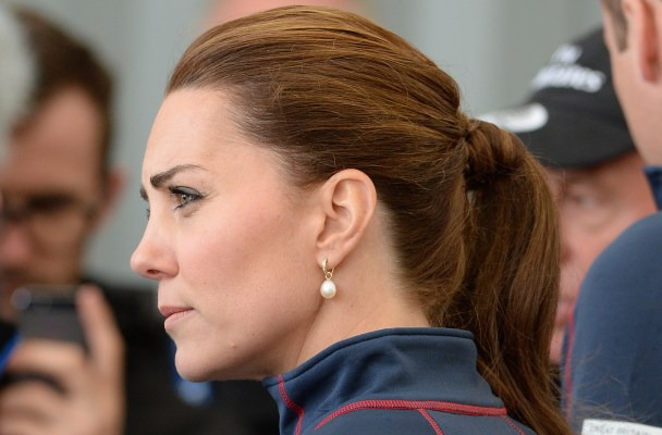 The Duke and Duchess of Cambridge visit the America's Cup team technical areas at the Royal Naval Base, Portsmouth, Hampshire, UK, on the 26th July 2015.  Pictured: Duchess of Cambridge, Catherine, Kate Middleton Ref: SPL1087747  260715   Picture by: James Whatling  Splash News and Pictures Los Angeles:	310-821-2666 New York:	212-619-2666 London:	870-934-2666 photodesk@splashnews.com