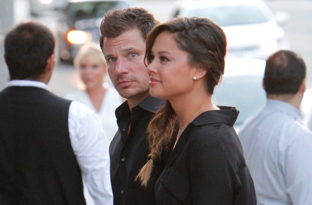 "Nick and Vanessa Lachey are seen entering a restaurant party in Los Angeles. The party was held at 'BOA' steakhouse and was a party for the ""NBC"" network.  Pictured: Nick Lachey, Vanessa Lachey Ref: SPL1131668  190915   Picture by: Bello / Splash News  Splash News and Pictures Los Angeles:	310-821-2666 New York:	212-619-2666 London:	870-934-2666 photodesk@splashnews.com"