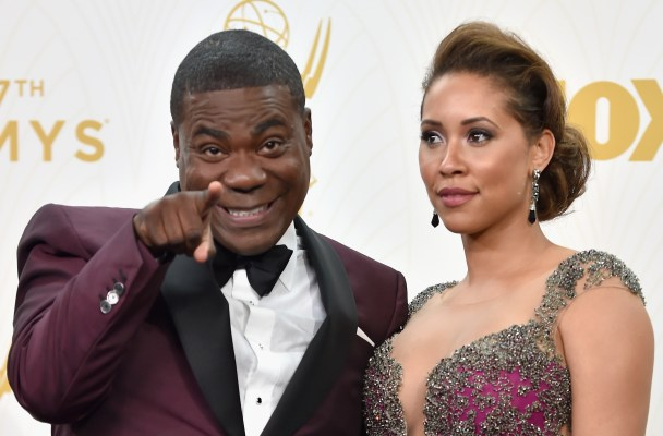 LOS ANGELES, CA - SEPTEMBER 20:  Actor Tracy Morgan (L) and Megan Wollover poses in the press room at the 67th Annual Primetime Emmy Awards at Microsoft Theater on September 20, 2015 in Los Angeles, California.  (Photo by Alberto E. Rodriguez/Getty Images)