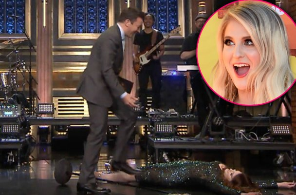 megan trainor falls jimmy fallon tonight show