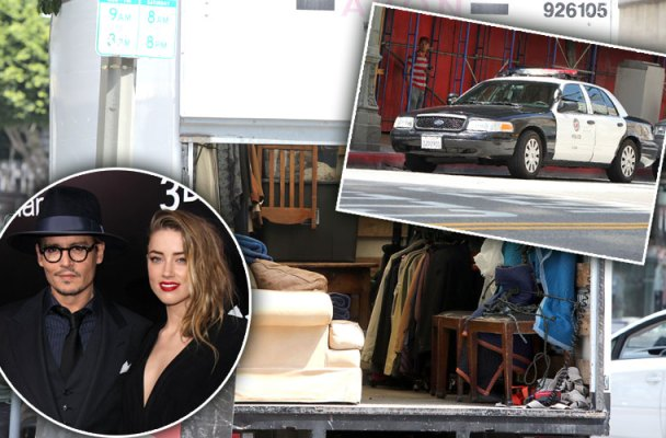 amber heard johnny depp divorce violate restraining order cops called moving trucks