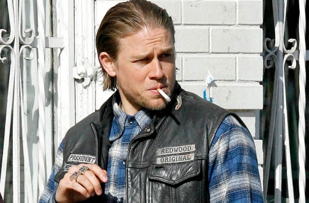 Charlie Hunnam has a scene where he meets up with other gang leaders to hash some things out. After much smoking and funny looks they part ways.