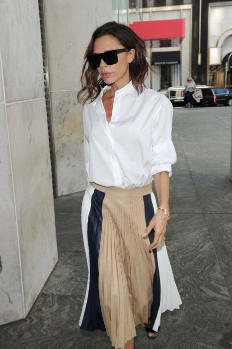 Victoria Beckham With a Tiffany & Co. T Wrap Bracelet Out and About in NYC