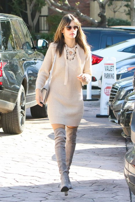 Alessandra Ambrosio's sexy sweaterdress