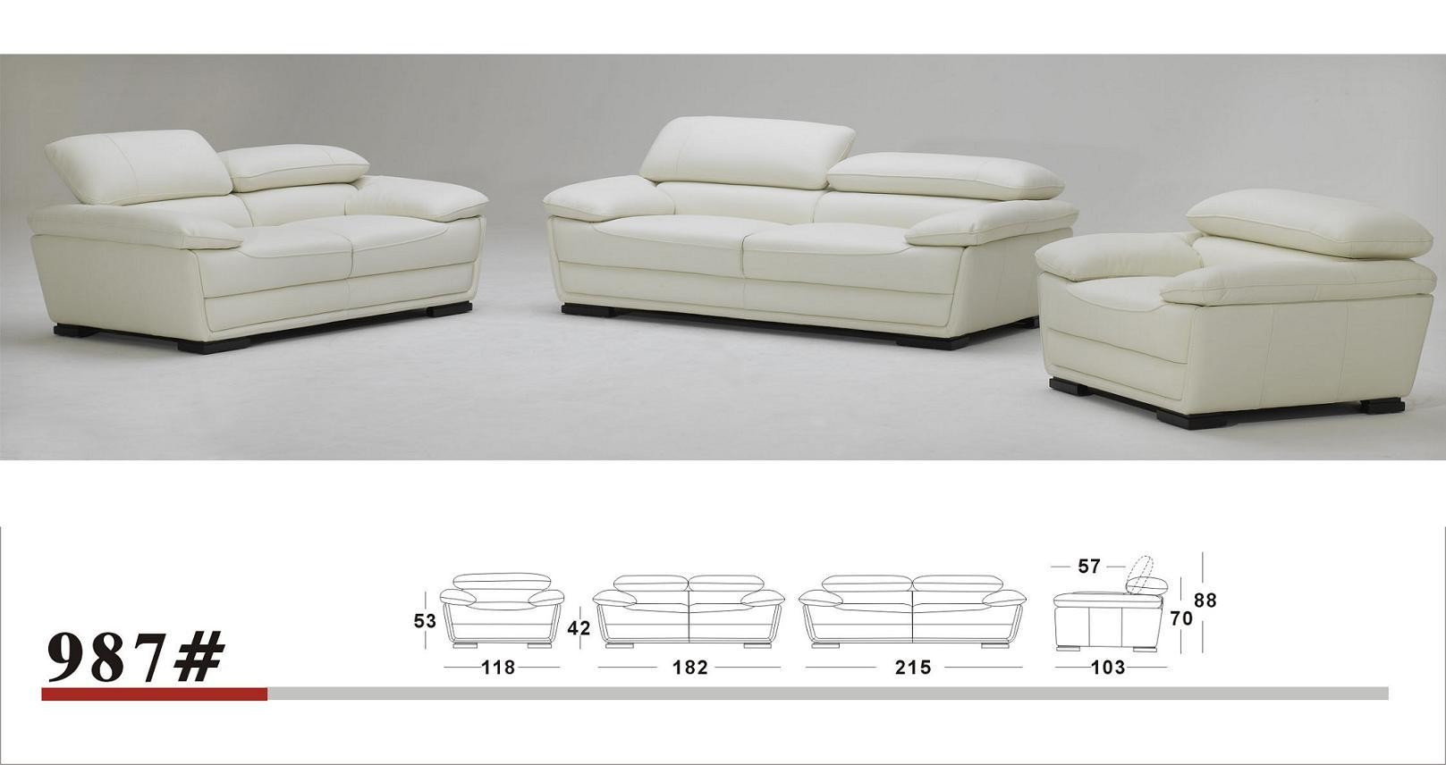 Sofa Set Action K987 Contemporary Espresso Leather Sofa Set With