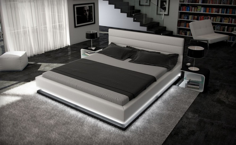 Bett King Size Inmod Contemporary Leather Bed With Light-ge - Modern