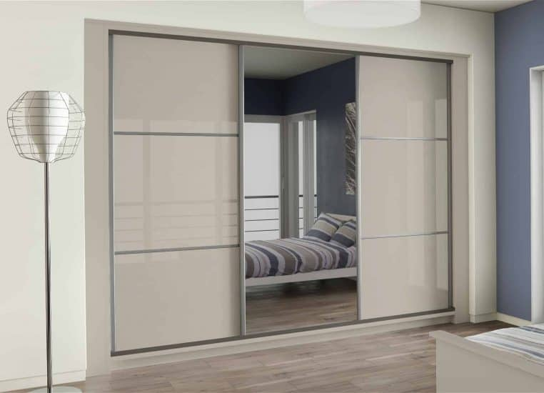 3 Panel Smoked Mirror Sliding Wardrobes Bedroom Furniture
