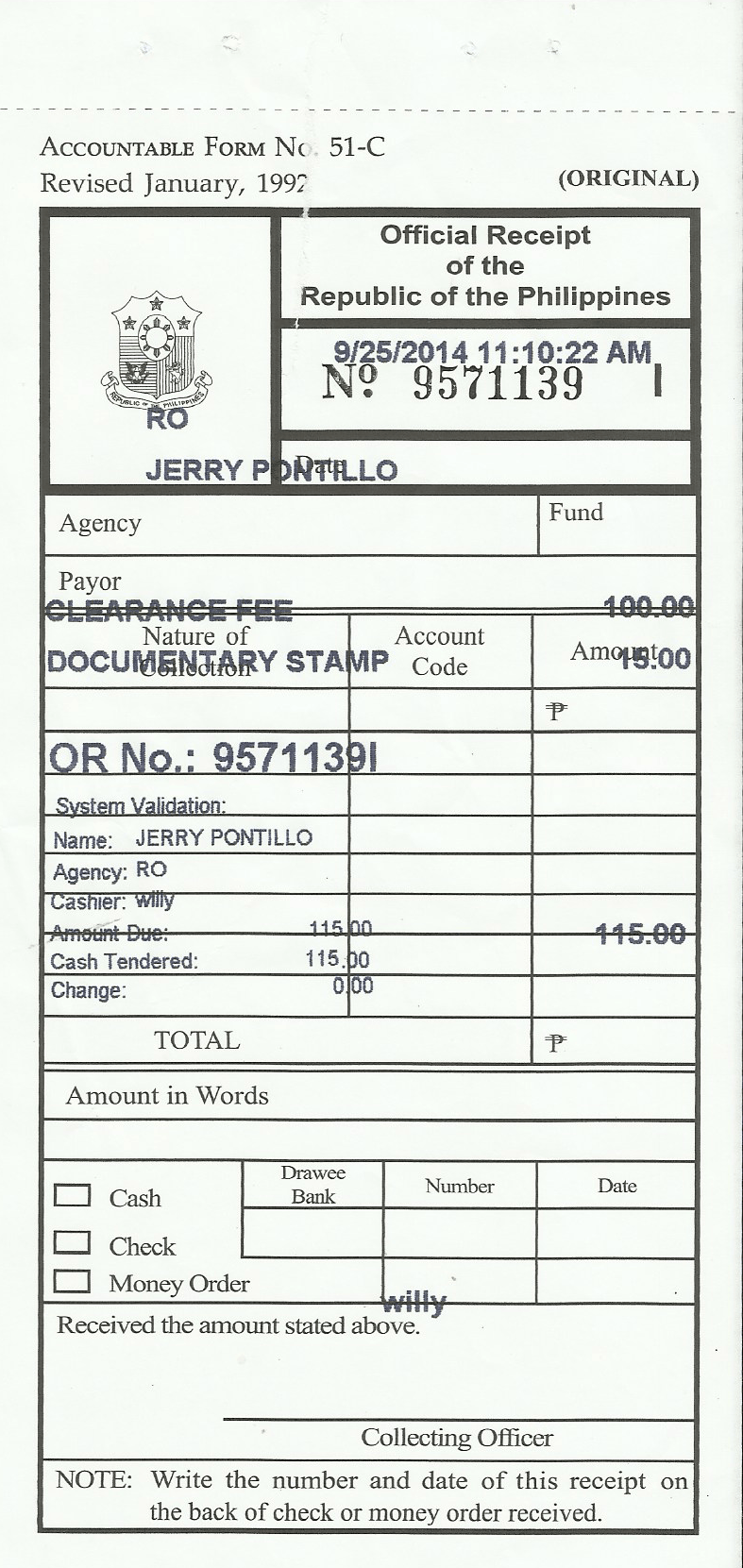 official receipt sample format – Official Receipt Sample