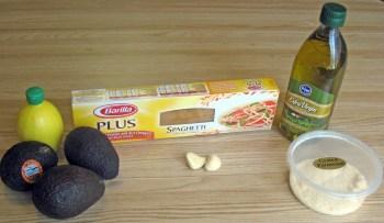 Avocado pasta ingredients