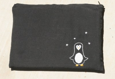 embroidered penguin zipper ipad case