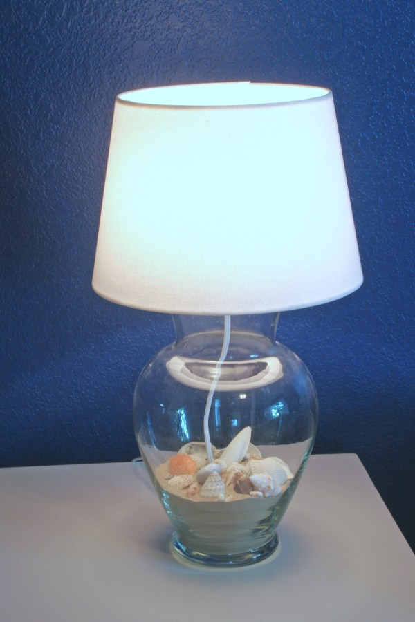 DIY Glass Vase Lamp turned on