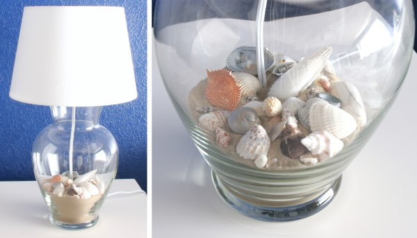 Glass Vase lamp with sea shells