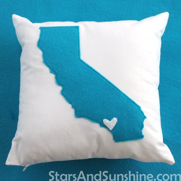 Blue Felt California Pillow