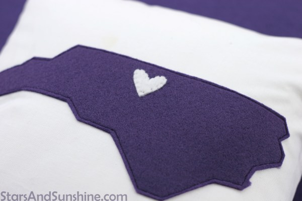 Purple North Carolina Felt Pillow Applique
